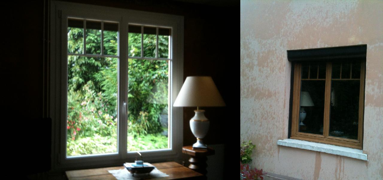Fenetre pvc rouen, coloris chêne clair extérieur, blanc intérieur.